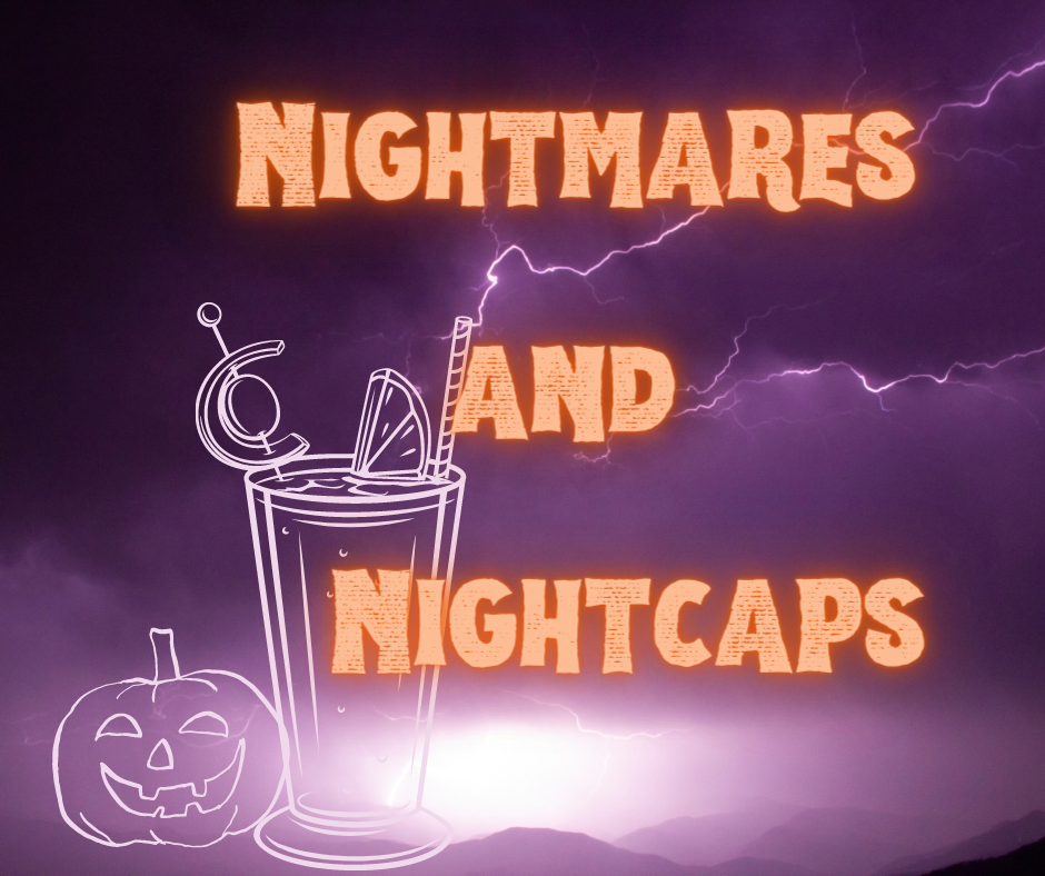 Illustration of a cocktail and a pumpkin with the show logo against a background of lightning